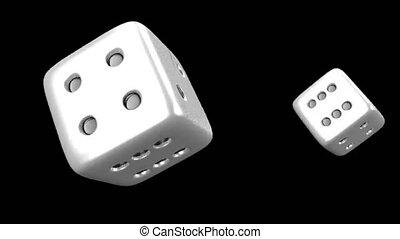 Dynamic gambling dice rotating on black background in 4k ...