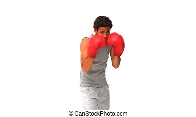 Dynamic handsome man with red boxing gloves isolated on a ...