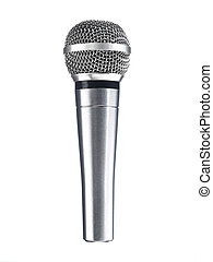 Dynamic mic - A metallic microphone isolated over a white...