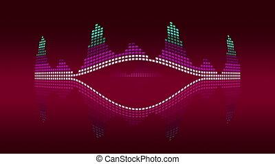 Dynamic music VU meters. Red vintage. Seamless loop-able 4K...