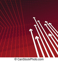 Dynamic perspective arrows on red - Layered vector...