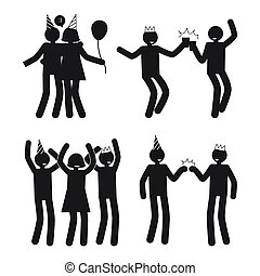 Dynamic Poses of People at Party White Silhouettes