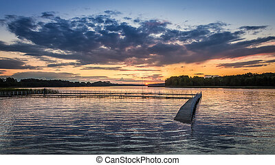 Dynamic sky and sunset at the lake in summer, Poland