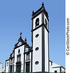 church at Sao Miguel Island - dynamic view showing a church...