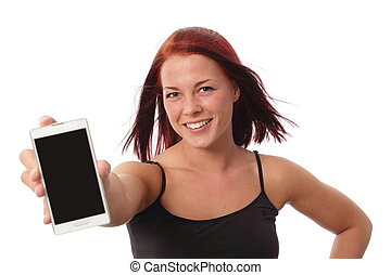 Dynamic young woman with smartphone