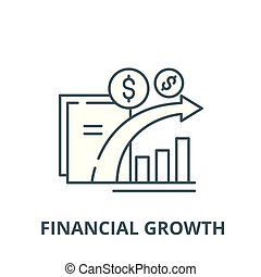 Dynamics of financial growth vector line icon, linear concept, outline sign, symbol
