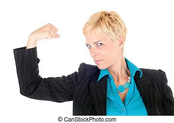 dynamiczny, kobieta handlowa