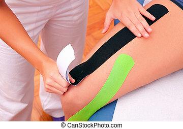 dynamik, funktionelle, bandagen, hos, taping