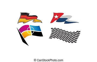 dynamique, drapeau, ensemble, courses, gabarit