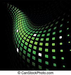 dynamique, résumé, arrière-plan vert