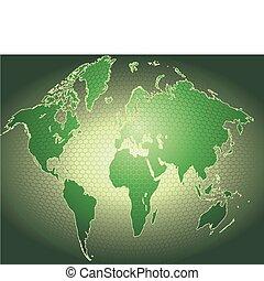 dynamisch, 3d, wereldkaart, met, achtergrond