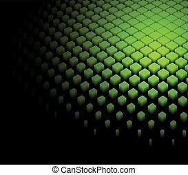 dynamisch, abstrakt, grüner hintergrund, 3d