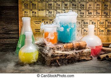 dynamisch, chemische reactie, gedurende, een, chemie, les