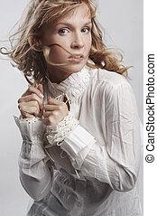 dynamisch, foto, van, mooi, blonde, vrouw