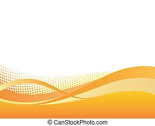 dynamisch, orange, swoosh, hintergrund