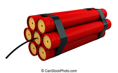 Dynamite - 3d render of dynamite stick isolated over white ...