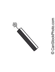 Dynamite bomb explosion icon with burning wick detonate.