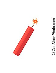 Dynamite bomb explosion with burning wick detonate. Aggression terrorism.