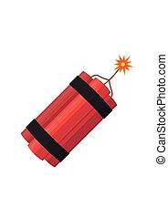 Dynamite bomb explosion with burning wick detonate. Aggression terrorism.