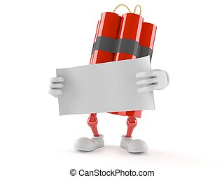 Dynamite character with blank sheet of paper isolated on white background