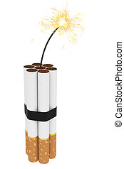 Dynamite composed of cigarettes with burning wick