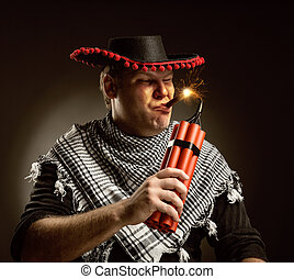 dynamite, cow-boy, cigare, tir, mexicain