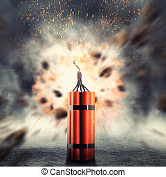 Dynamite exploding - Dangerous dynamite exploding against...