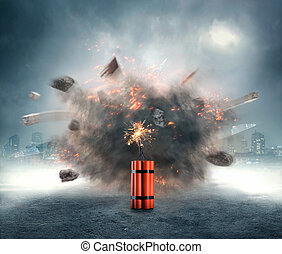 Dynamite exploding - Dangerous dynamite exploding in the...