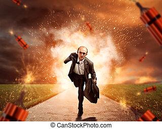 dynamite, exploser, s'échapper, homme