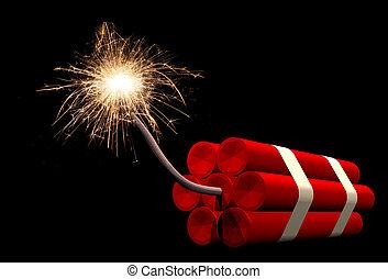 Dynamite fuse burning - Dynamite sticks with fuse burning,...