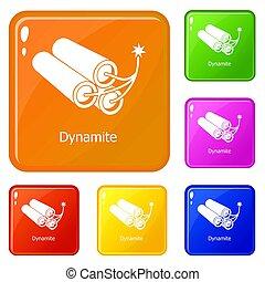 Dynamite icons set color