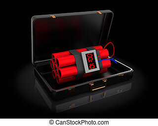 dynamite in briefcase - 3d illustration of bomb in briefcase...