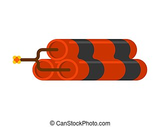 Dynamite isolated. Explosion on white background. Vector illustration
