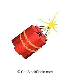 Dynamite on white background. Vector flat illustration.