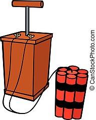 dynamite sticks and detonator vector illustration
