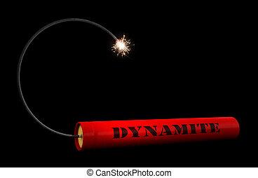 Dynamite - 3d render of dynamite stick over black backround