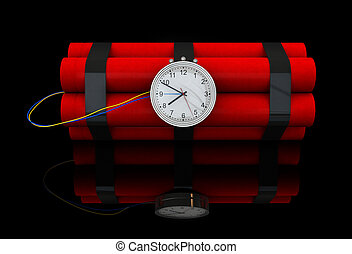 Dynamite - 3d render of dynamite stick with clockwork