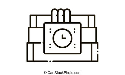 Dynamite Tool Icon Animation. black Dynamite Tool animated icon on white background