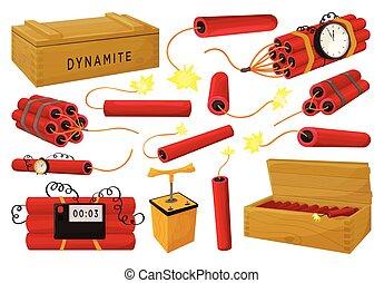 Dynamite vector illustration on white background. Vector cartoon set icon fuse explosive. Isolated cartoon set icon dynamite.