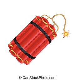Dynamite with burning fuse vector illustration isolated on white background