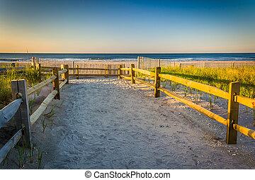 dyner, över, ocean, ventnor, sand, atlanten, bana, soluppgång