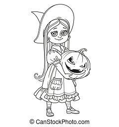 dynia, dzierżawa, szczerzyć zęby, czarownica, kostium, dziewczyna, wielki, pokrajany, sprytny, konturowany, strona, kolorowanie