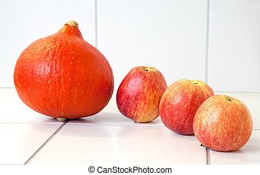dynia, trzy, jabłka