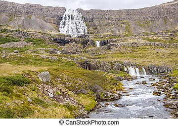 Dynjandi waterfall and rapid river - Iceland.