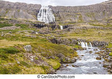 Dynjandi waterfall and rapid river - Iceland.
