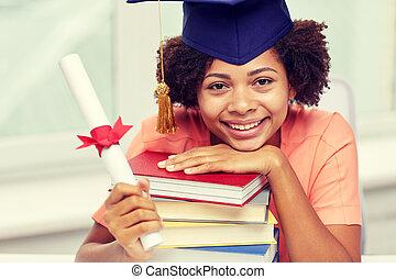 dyplom, kawaler, książki, afrykanin, dziewczyna, szczęśliwy