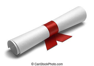dyplom, wstążka, czerwony