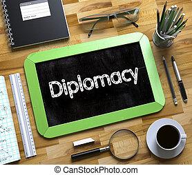 dyplomacja, handwritten, na, mały, chalkboard., 3d.