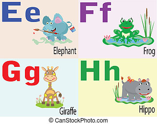 dyr, alfabet, e,