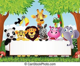 dyr, cartoon, og, blank underskriv